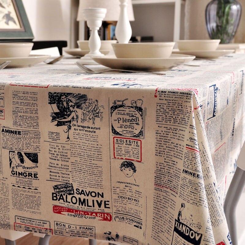 76f6325b61 Novo lençóis de Algodão Toalha De Mesa toalha de mesa de jantar Tampa  Tapete azul jornal impresso estilo cozinha de Casa Dezembro atacado FG217-3