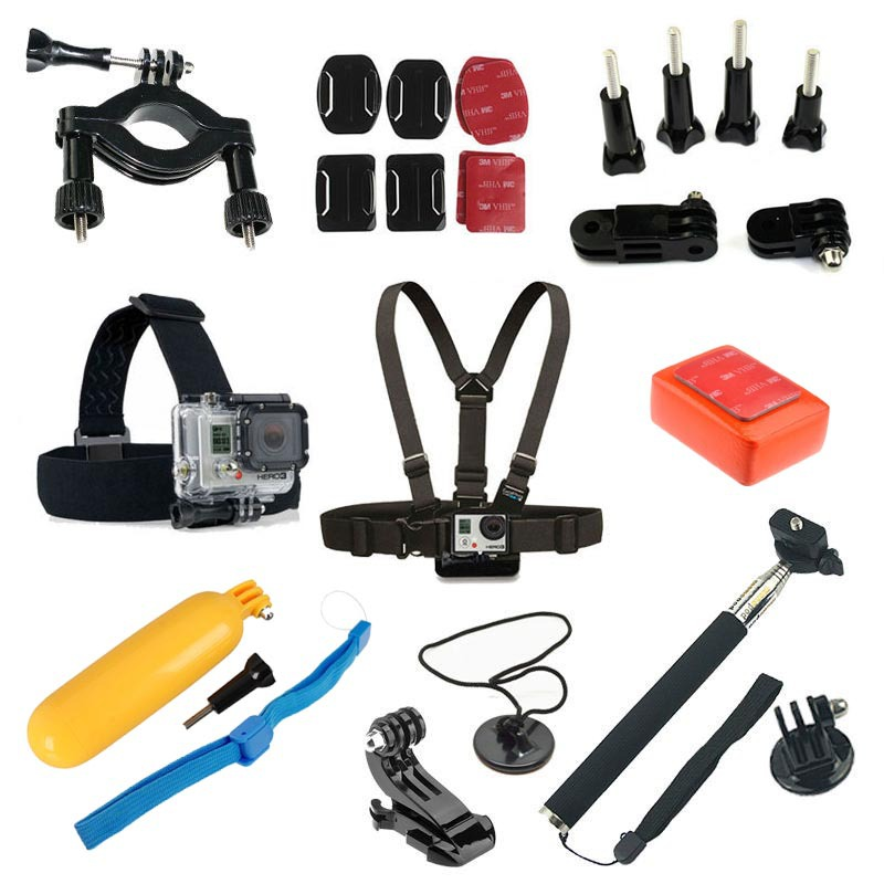 Gopro Hero Accessories Set Helmet Harness Chest Belt Head Mount Strap Monopod Go pro hero3 Hero 4 session 3+ 3 2 xiaomi yi sjcam