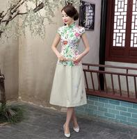 Summer Hot Sale Chinese Style Satin Blouse Women Sexy Slim Short Sleeve Shirt Flower Tang Suit
