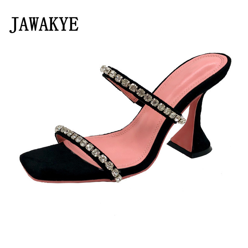 Sexy Beading Strappy Mules Strange Heel Dress Slippers Square Toe Formal Party Shoes Women