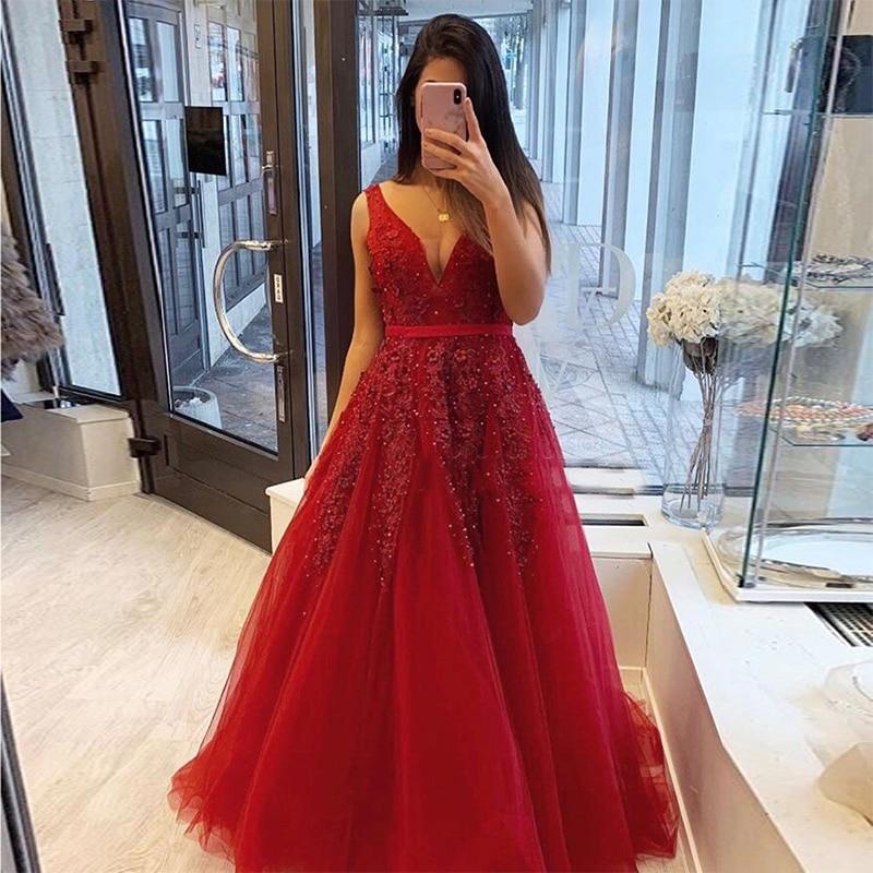 V-neck Appliques Beading   Prom     Dress   A-line Burgundy Robe De Soiree Tiered Tulle Vestido De Noite Women Formal Party   Dresses   2019
