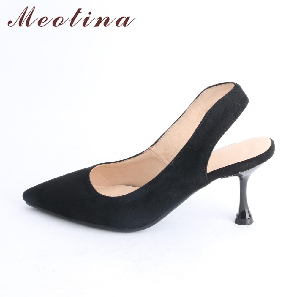 43 Talon Noir Pointu Dames Taille Talons Grand rose Femmes 2018 Chaussures Partie Nouveau Haute Bout Meotina Printemps 33 Beige noir Slingbacks Chaton Pompes PXkZiuO