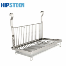 Folding Stainless Steel Hanging Kitchen Draining Rack Plates Organizer Stoarge Shelf – Main Silver + White