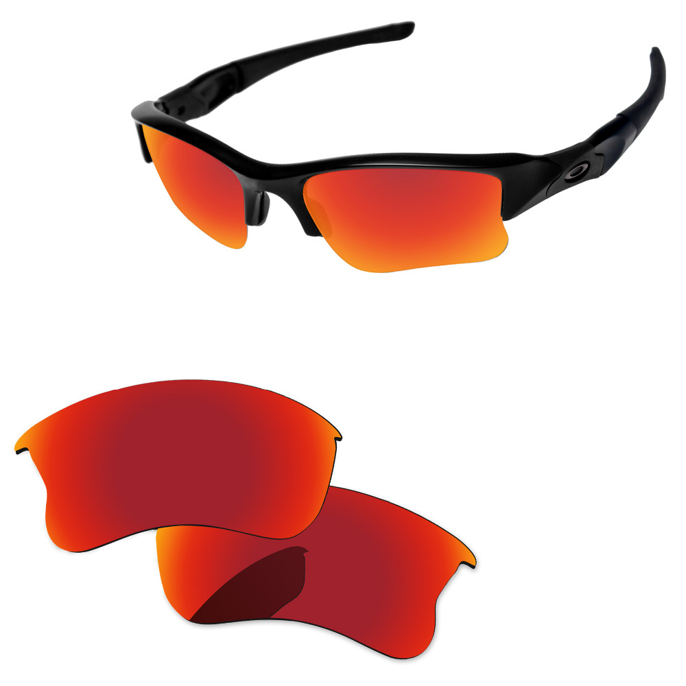77be030aae Rojo fuego espejo polarizadas lentes para Flak Jacket XLJ gafas de sol  marco 100% UVA y UVB protección