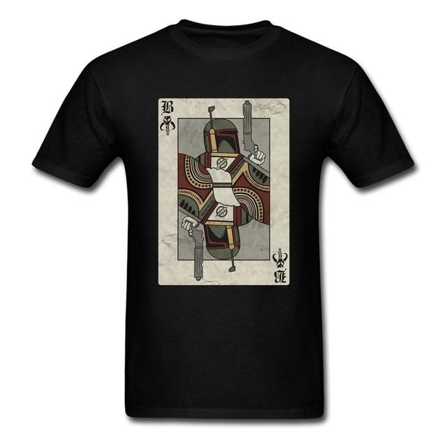 Men Man's Popular Star Wars Boba Fett Poker Tees Shirt Short Sleeve Cotton Tshirts Men