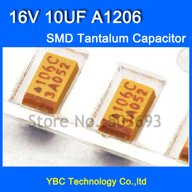 Free Shipping 100pcs/lot 1206 <font><b>SMD</b></font> Tantalum Capacitor <font><b>16V</b></font> <font><b>10UF</b></font> A1206 10% Tolerance image