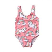 Детский купальник для маленьких девочек, купальный костюм, танкини, бикини, единорог, мультяшный костюм, размер От 0 до 3 лет, одежда для малышей