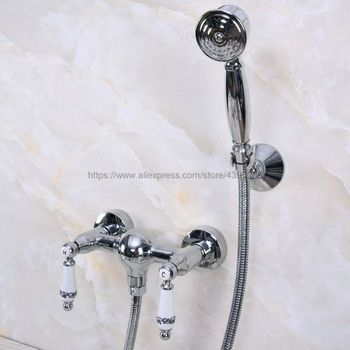 Wall Mounted Chrome Finish Brass Bath Faucets Bathroom Basin Mixer Tap  With Hand Shower Head Shower Faucet Sets Bna284
