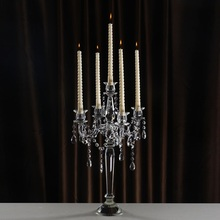 Modern 5 arms Crystal Table Centerpiece Candle Holders Christmas Decorations Demountable Glass Candlestick