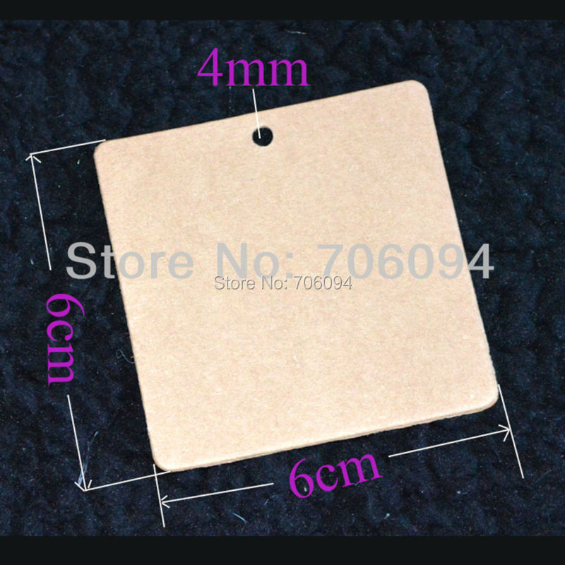1000PCS 350g 6*6cm Kraft Brown Blank Hang Tag Gift tag, Wedding Party Favour Gift Pricing Label Card Etichette Luggage Labels