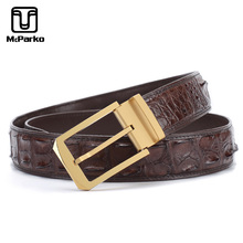 McParko Genuine Crocodile Leather Belt Men Luxury Alligator Belt Stainless Steel Pin Buckle and Automatic Buckle Belt For Men fashionable crocodile and letter z shape inlay design auto buckle belt for men