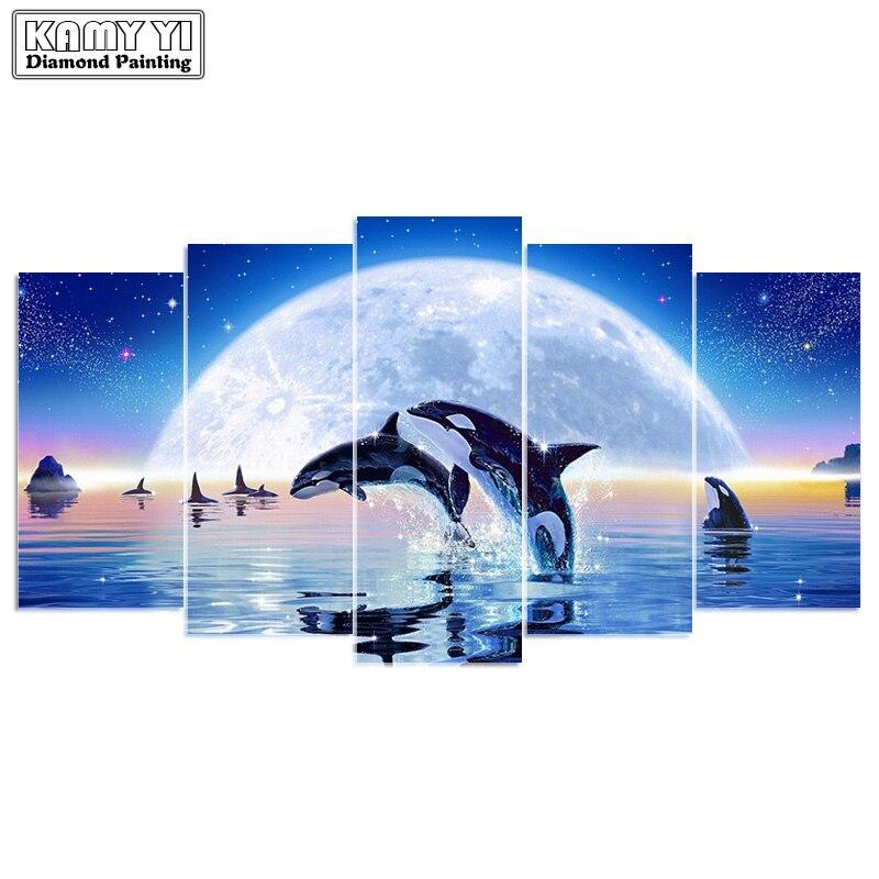 5d diy diamond embroidery moonlight dolphin 5PCS diamond painting Cross Stitch full drill Rhinestone Multi-picture
