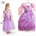 2016 Новый Горячий Стиль Платья Дети Девушки Фиолетовый Косплей Sweet Soild Платье Принцессы Бесплатная Доставка