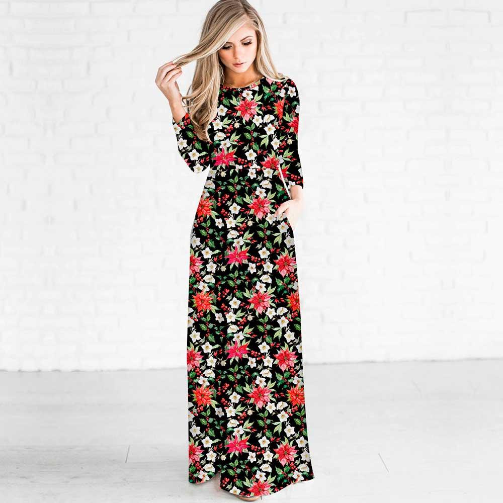 JESSINGSHOW New Women Female Long Dress 2017 Long Sleeve O Neck vestidos Floral Flower 3D Printed Maxi Dress vestido Plus Size