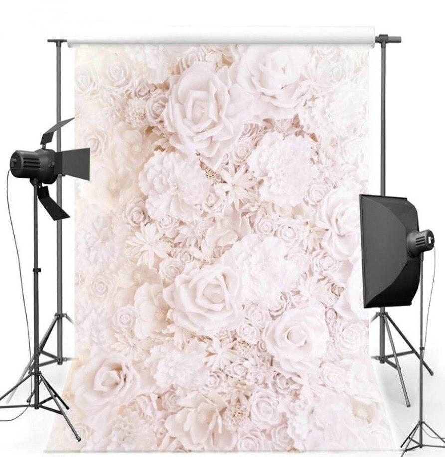 Виниловая ткань стены свадьба фотостудия фон Высокое качество окрашен 3D белый розовый цветок розы фото фон