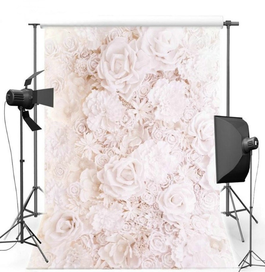 3D White Pink Rose Flower wedding photo studio background Vinyl cloth High quality Computer print wall photo backdrop white marble photo backdrop vinyl cloth computer printed wall photo studio background
