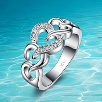 BAMOER 2016 Summer Collection 925 Sterling Silver Zircon ring.Heart to Heart Ring Double Heart Fine Jewelry for Women
