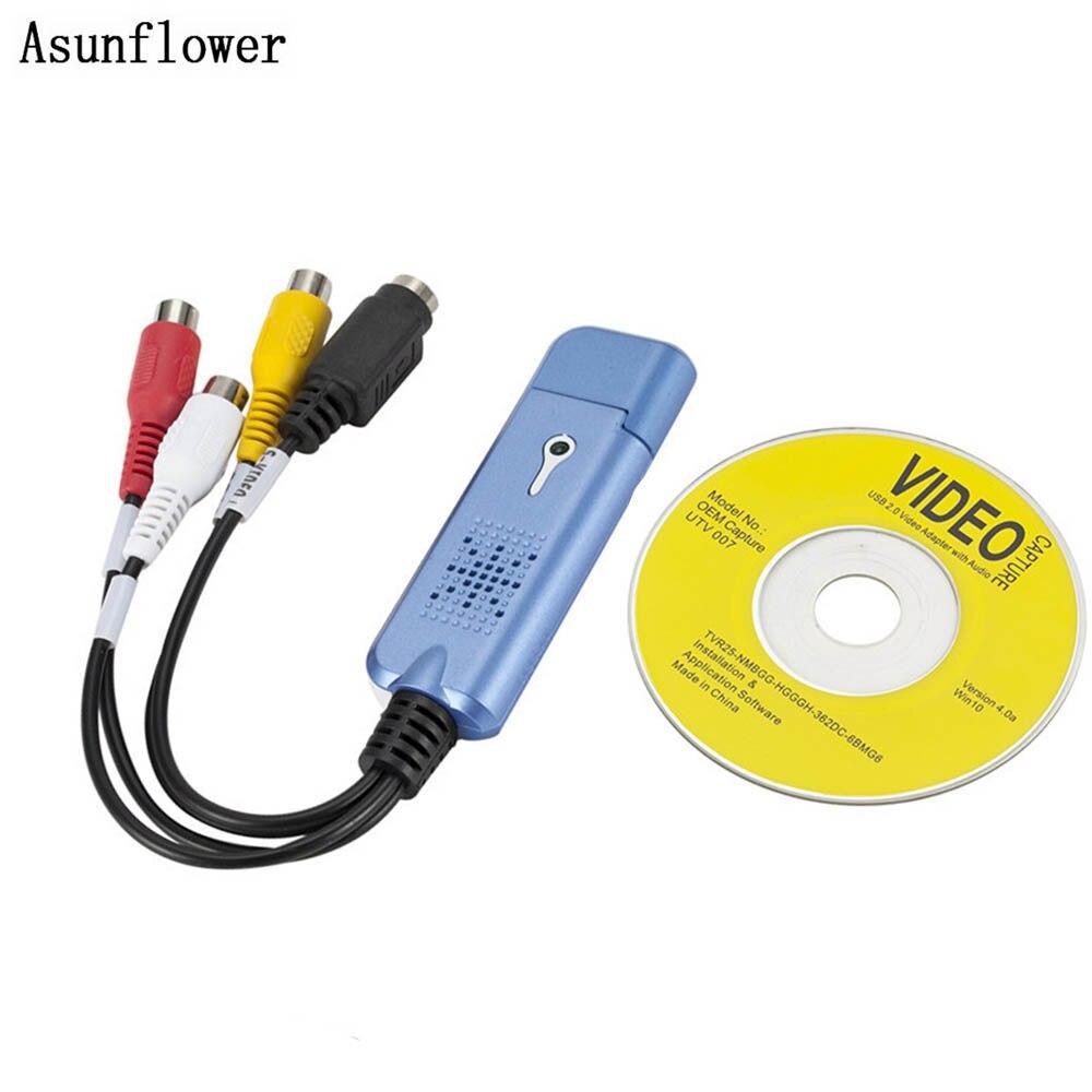 Para Easycap USB 2,0 casquillo fácil del Video Audio adaptador de captura VHS DVD DVR Tarjeta de captura de TV Convertidor soporte Win 10 para MAC IOS unidad