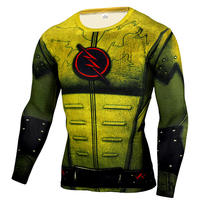 ab0593bf6ff The Flash Superhero Cosplay T Shirt 3D Muscle Compression Shirt Superman  Fitness Jogger Exercise Tees High Elastic Quick-drying