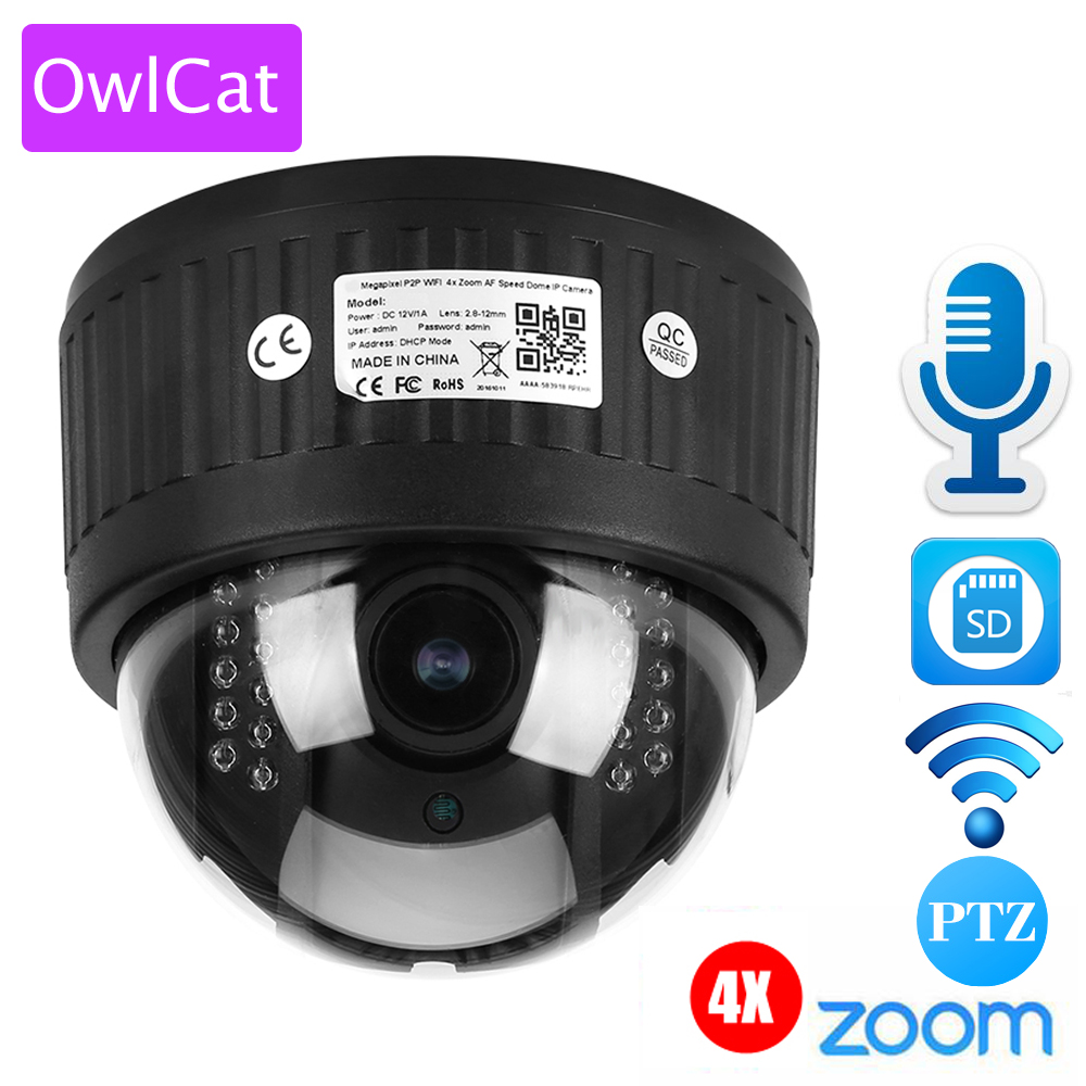 OWLCAT 4X Zoom 2.8-12mm Indoor Wireless Revolving Dome PTZ IP Camera Wifi HD 1080P Audio Microphone SD Card IR Night Onvif P2P 4pcs lot 960p indoor night version ir dome camera 4 in1 camera 3 6mm lens p2p onvif abs plastic housing