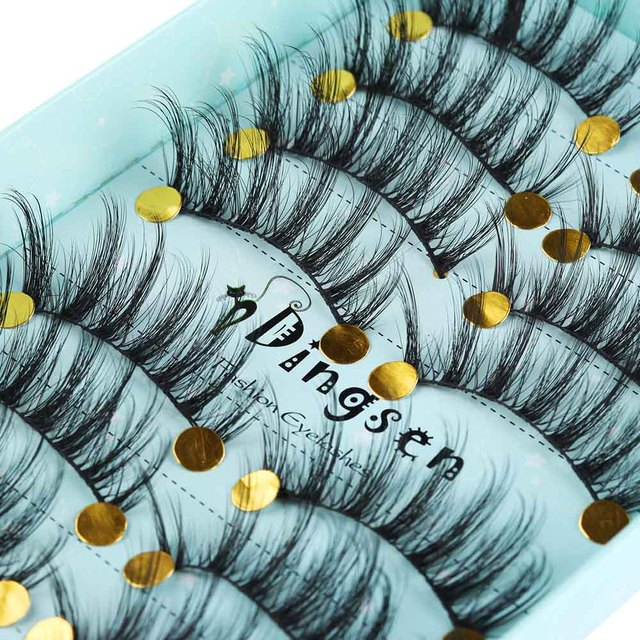 10 Pairs 3D Soft Faux Mink Hair False Eyelashes Natural Messy Eyelash Crisscross Wispy Fluffy Lashes Extension Eye Makeup Tools 3
