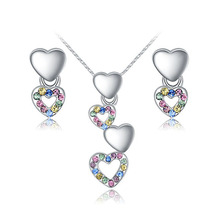 White Gold Plated Hearts Dangling earing and necklace sets High Quality Crystal Jewelry Sets
