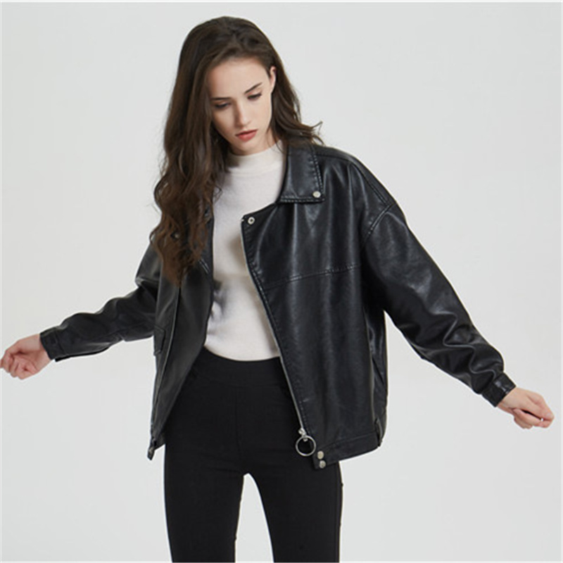 Autumn Wear High Quality Women's   Leather     Suede   Jacket Loose Lapel Motorcycle Jacket Fashion PU Women's Jacket