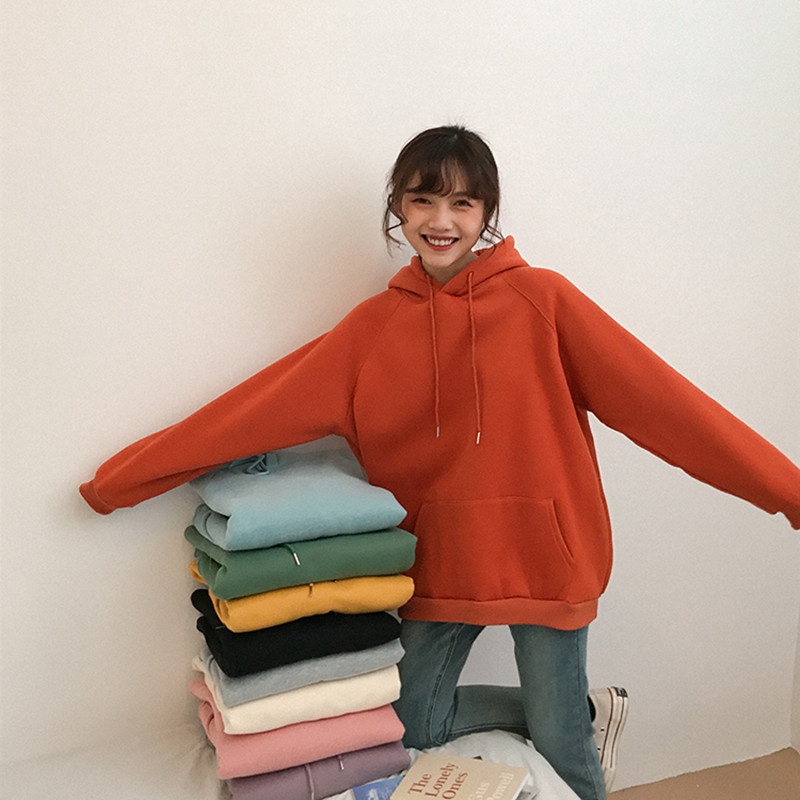 9 Colors 2018 Autumn And Winter Loose Solid Color Long-sleeve Pullover Thick Sweatshirts Womens Hoodies Womens (F3606)
