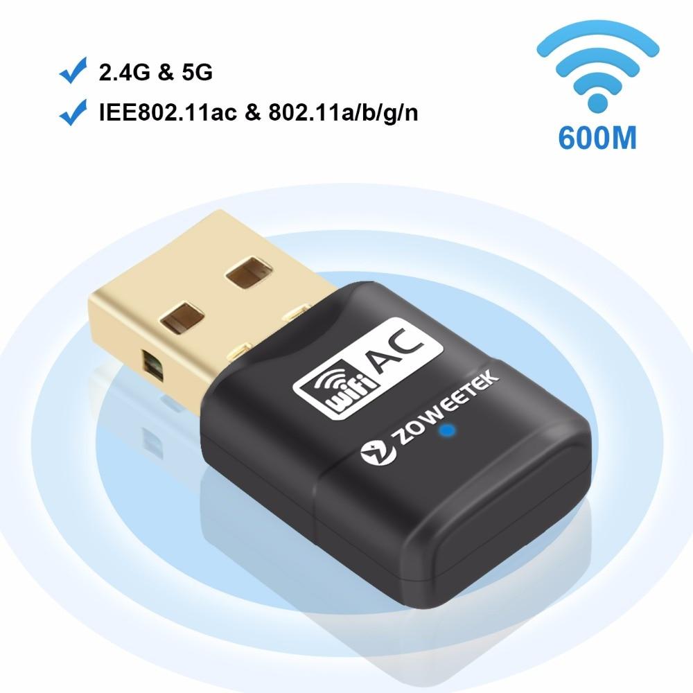 Zoweetek Mini Wireless WiFi Adapter USB 2.0 Wi-fi LAN Dongle Ethernet Receiver 5G 433Mbps 2.4G 150Mbps Hot 802.11AC Network Card