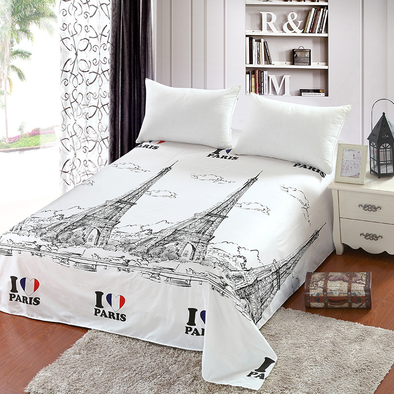Eiffel Tower Print Flat Sheet Paris Scenic Sanding Bed Sheet For Children Adults Single Double Bed Sheets Only XF345-1
