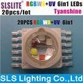 20 PÇS/LOTE conduziu a lâmpada levou chip de 18 watts TYANSHINE RGBWA + UV 6 cores em 1 TianXin Marca Pacote de 20 RGBWA + UV 6in1