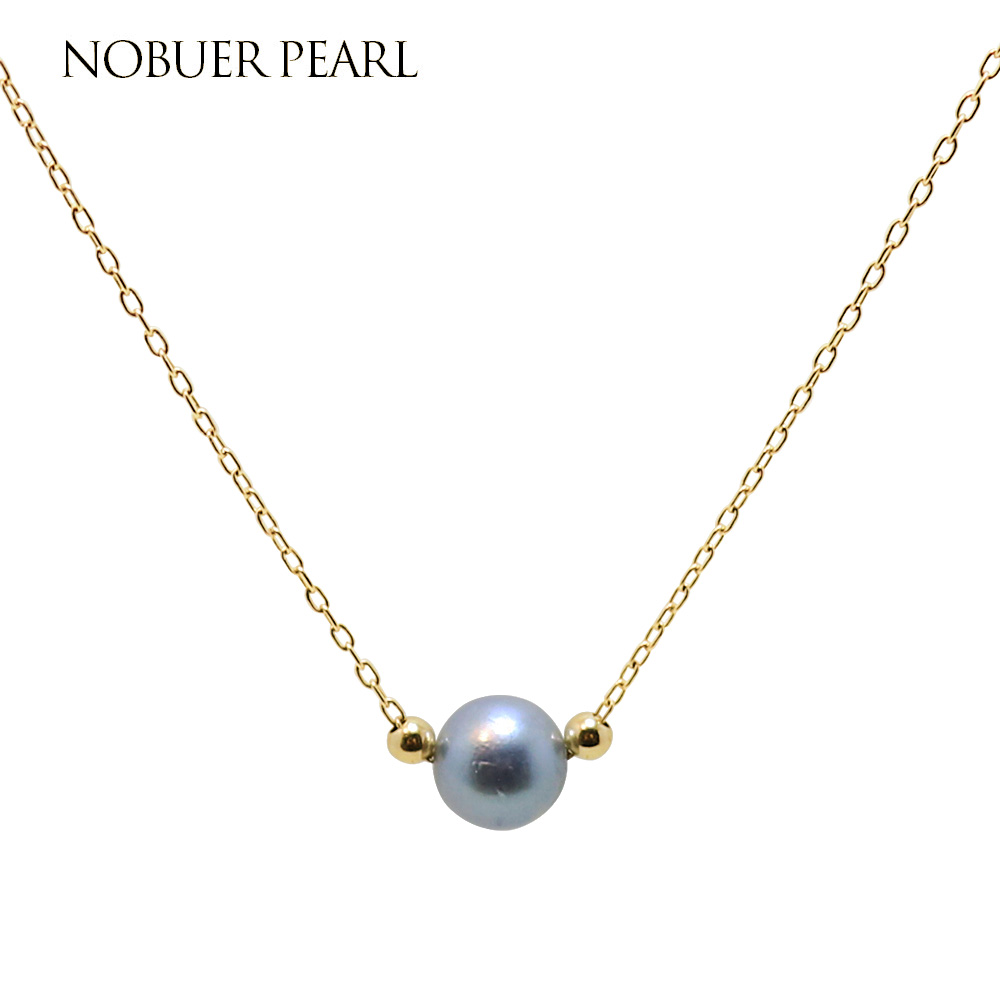 Nobuer 14KGF Akoya Pearl Necklace Jewelry 6-7mm Grey Round Akoya Pearl Handmade Link Chain Necklace For Women To A Party a suit of simple faux pearl twisted singapore chain necklace and earrings for women