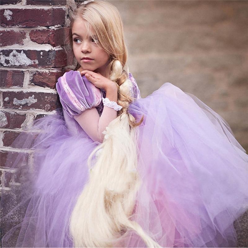 Niños Niñas Princesa Sofia Rapunzel Vestidos bola completa vestido ...