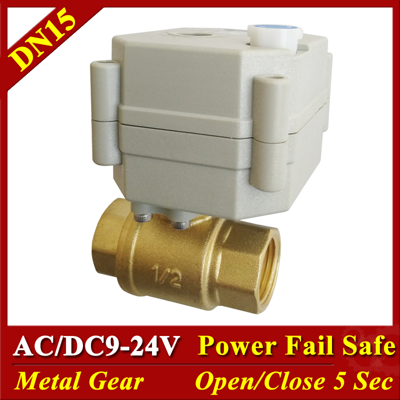 BSP/NPT 1/2 Motorized Ball Valves With Manual Override AC/DC9-24V 2 Way Brass DN15 Normally Open / Normally Close ValveBSP/NPT 1/2 Motorized Ball Valves With Manual Override AC/DC9-24V 2 Way Brass DN15 Normally Open / Normally Close Valve