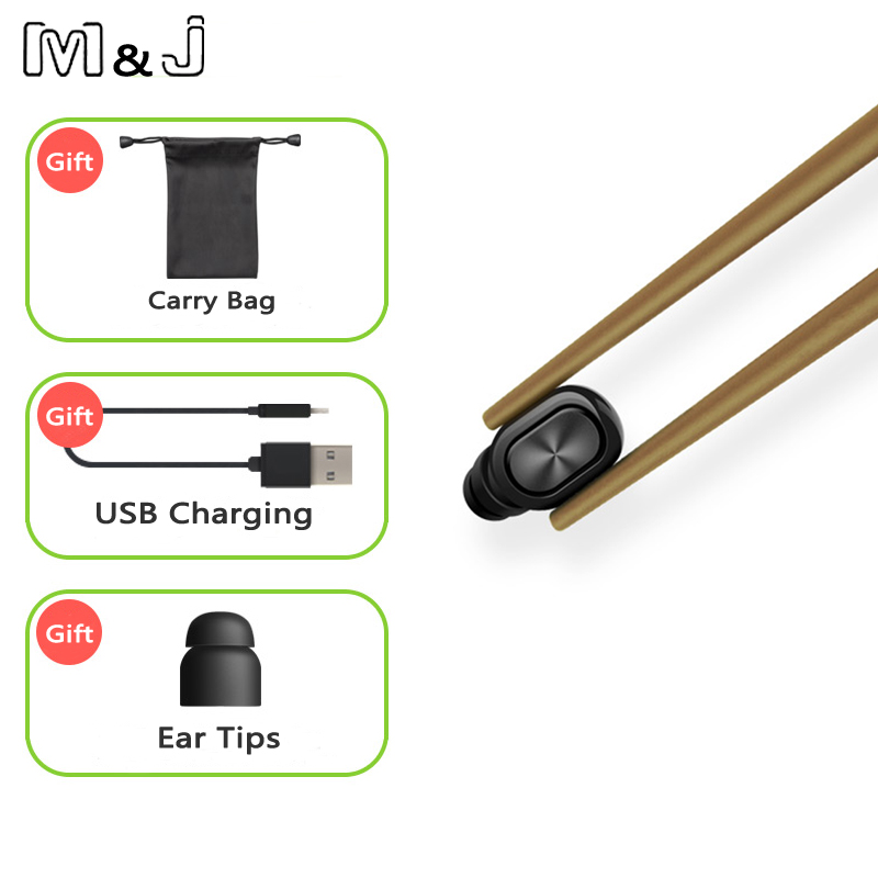 M&J Mini Bluetooth Earphone With Mic Wireless Headset Music Earbud Bluetooth V4.1 Noise Canceling for Iphone,Xiaomi,Samsung Q26