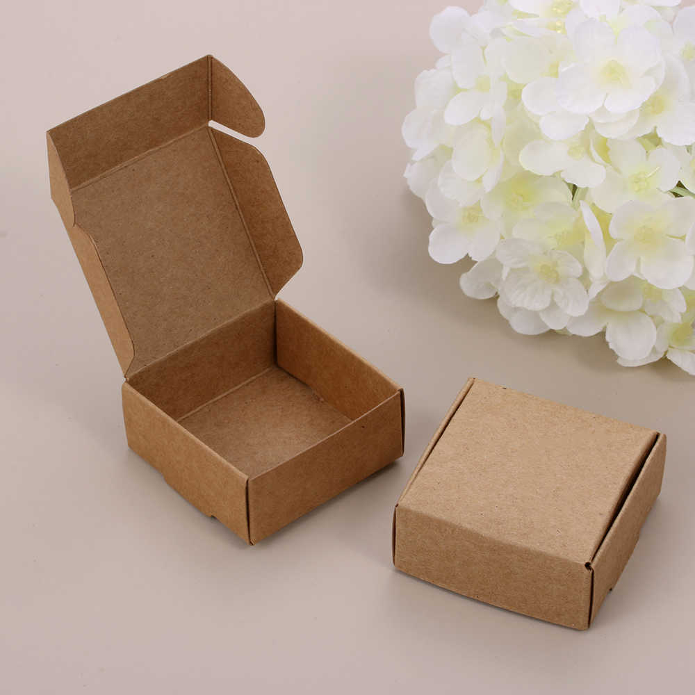 10PCS/pack Handmade Candy Jewelry Packaging Wrapping Cardboard Small Kraft Paper Packing Square Bottom Gift Boxes