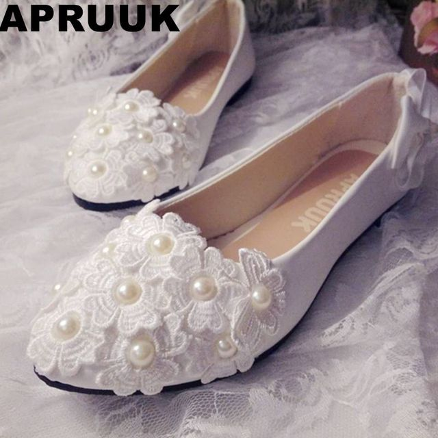 a84fbaa0775 Ivory lace wedding shoes woman flat heel plus size 41 42 lace pearls bridal  wedding flats shoes customized low med heel