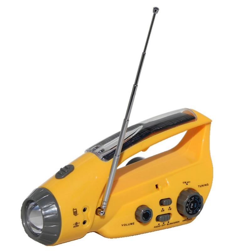 Solar Rechargeable Yellow Flashlight Hand Crank Flashlights USB Rechargeable 3LED Light Emergency Lighting