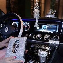 Obudowa na przyciski na kierownicy kobiety dziewczęta popielniczka samochodowa pudełko na chusteczki Rhinestone akcesoria samochodowe Rhinestone ozdobione kryształami samochodu