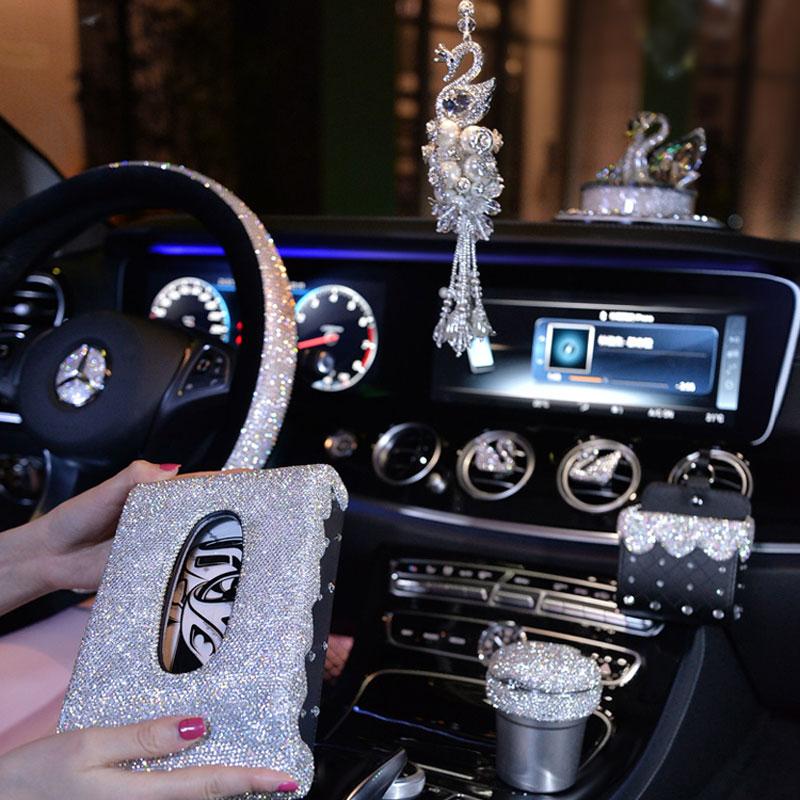 Steering Wheel Covers Women Girls Car Ashtray Tissue Box