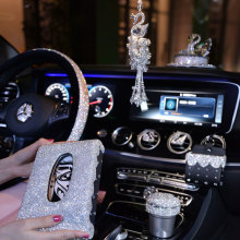 Steering Wheel Covers Women Girls Car Ashtray Tissue Box Rhinestone Accessories Crystal Ornament