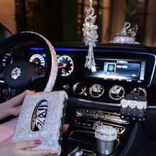 Volante capas de carro feminino meninas cinzeiro caixa tecido strass acessórios do carro strass cristal ornamento carro