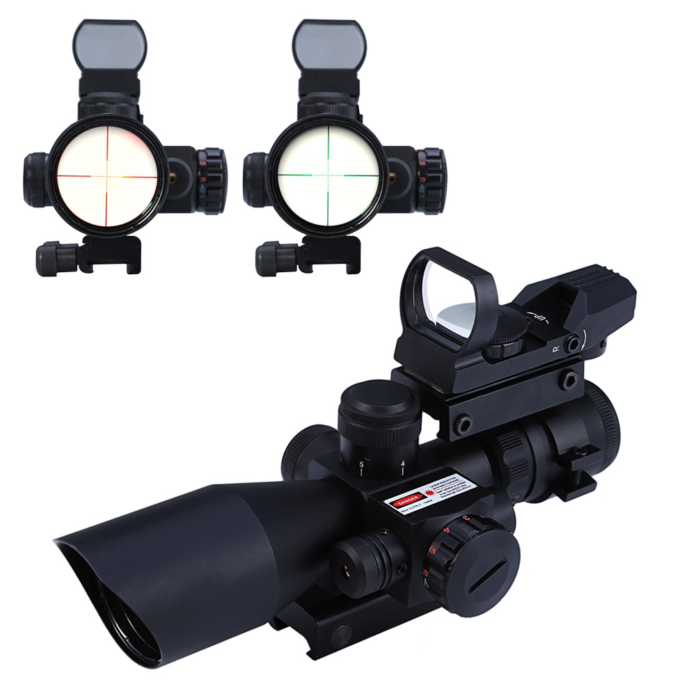 Optics 2.5 - 10X40 Hunting Tactical Riflescope Red / Green Laser Dual Illuminated Scope Telescope 20mm Mil-dot Rail Mount Scope  цены