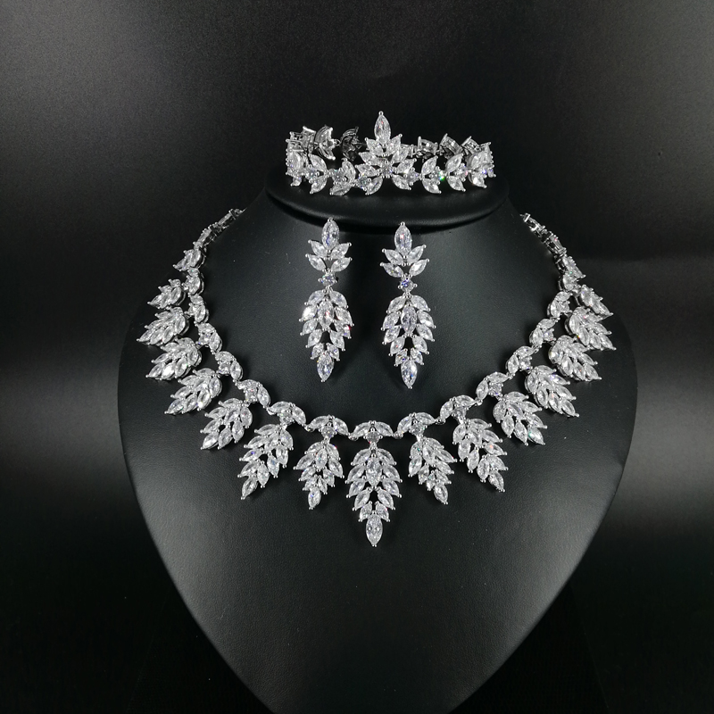 2019 NEW FASHION luxury vintage crystal CZ zircon necklace earring bracelet ring wedding bridal banquet dressing