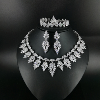 2020 NEW FASHION luxury vintage crystal CZ zircon necklace earring bracelet ring wedding bridal banquet dressing jewelry set