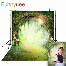 Funnytree background for photo spring forest kid flower grass watercolor wonderland backdrop photocall new photographic decor