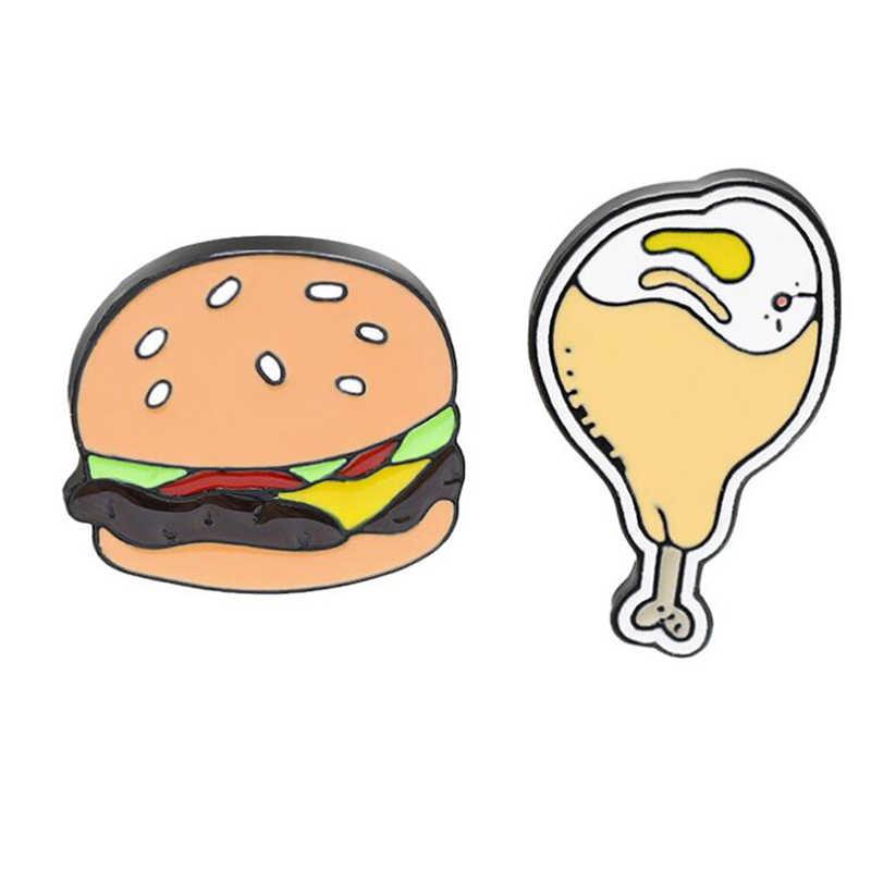 Kreatif Food Burger Ayam Kaki Bentuk Bros untuk Wanita Indah Lencana Kualitas Tinggi Kerah Pin Korsase Hadiah