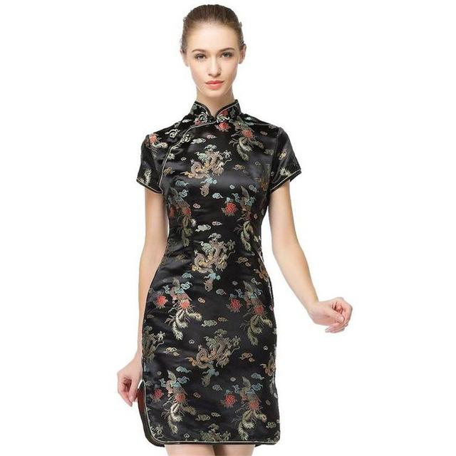 Low Price Black Traditional Chinese Dress Womens Satin Qipao Summer
