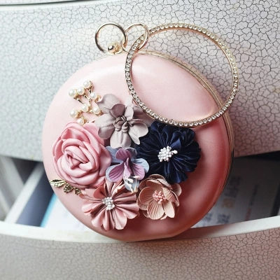Round-Bags Flower Pu-Design Mini Women Fashion High-Quality Portable New