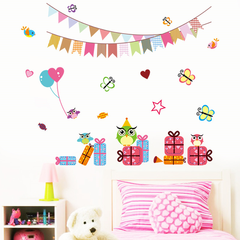 Cartoon Birthday Party Decoration Festival Wall Stickers Decals Flag